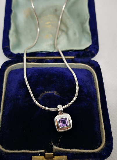 Modern Silver and Amethyst Necklace