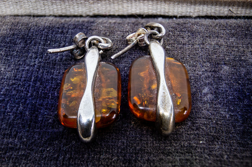 Contempory Silver and Amber Earrings