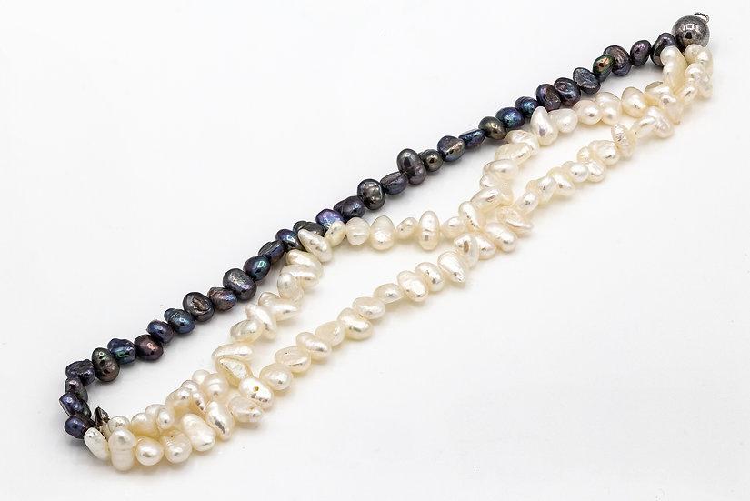 Triple Strand Freah Water Pearl and Silver Bracelet