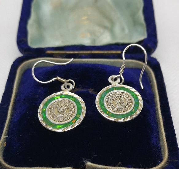 Mexican Silver Disc Earrings