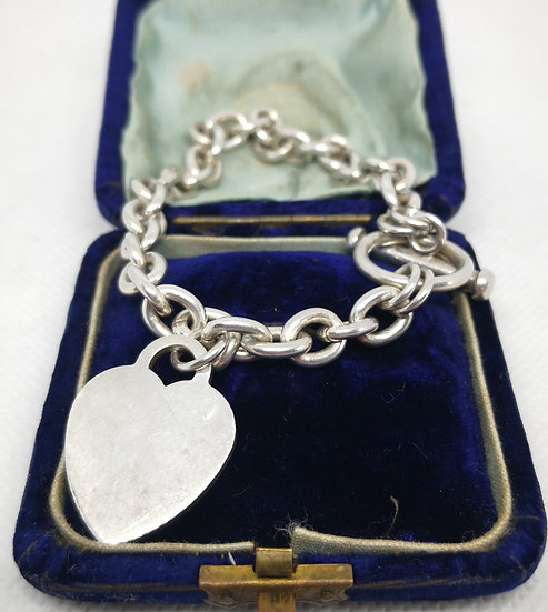 Gorgeous Chunky Silver T-Bar Bracelet with Heart Charm