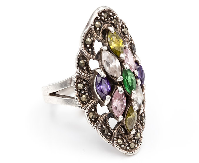 Sterling Silver Large Gemstone Ring with Marcasite