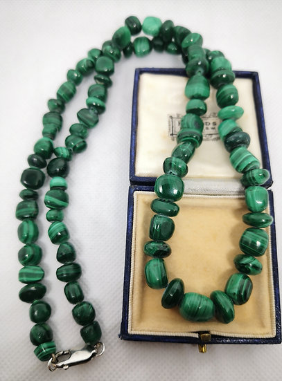 Malachite Bead Necklace with Silver Clasp