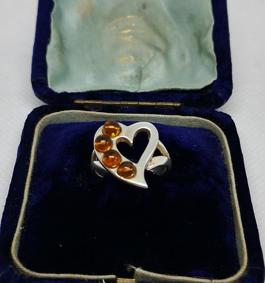 Solid Silver and Amber Heart Ring