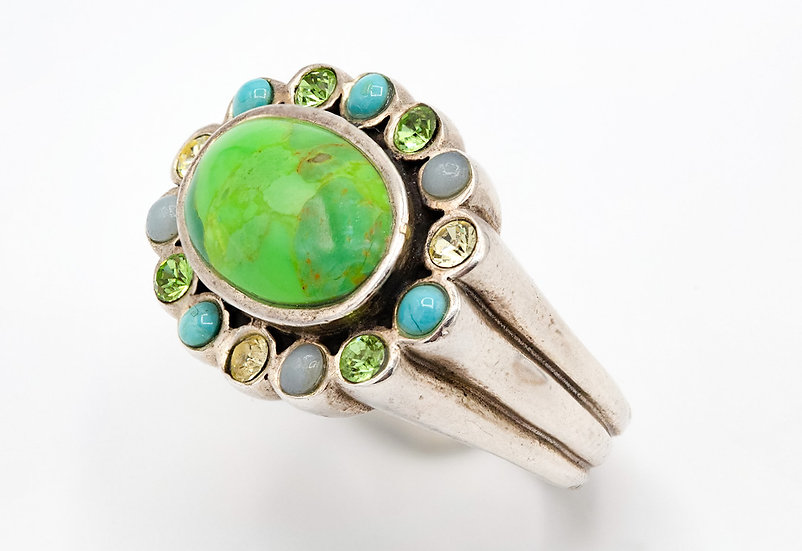Stunning Solid Silver Green Turquoise and Gemstone ring By Barse