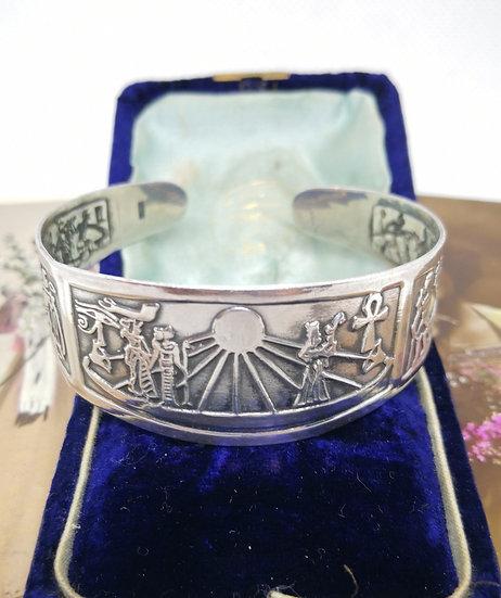 Egyptian Revival Silver Bangle
