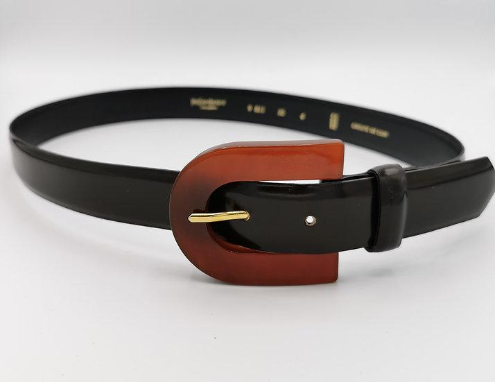 Yves Saint Laurent Brown Patent Leather Belt
