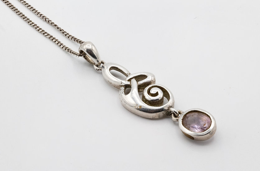 Sterling Silver Necklace with Amethyst Drop
