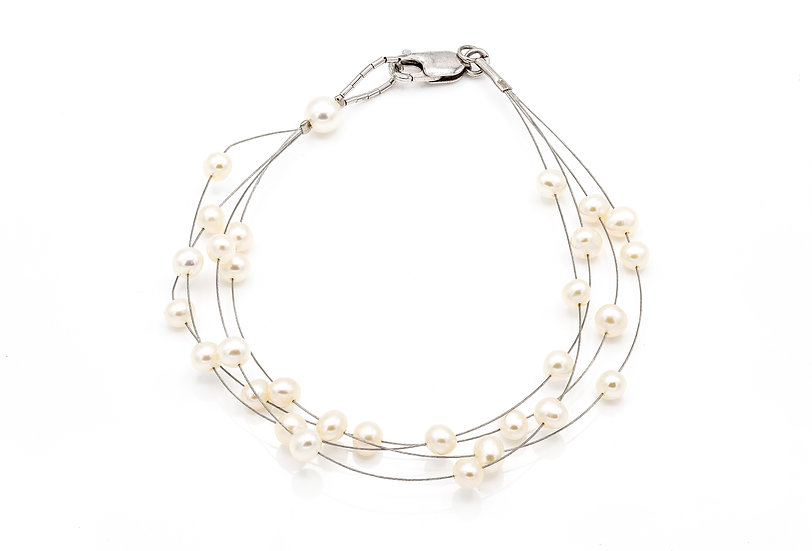 Sterling Silver and Pearl Illusion Bracelet
