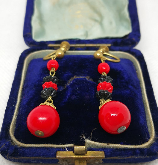 Vintage Red and Black Glass Screw Back Costume Earrings