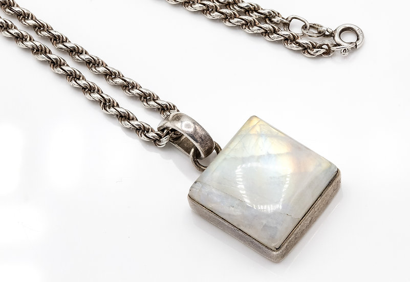 Beautiful Sterling Silver and Moonstone Pendant on Long Silver Chain