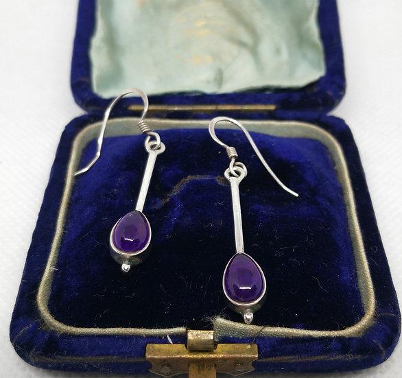 Sterling Silver and Amethyst Drop Earrings