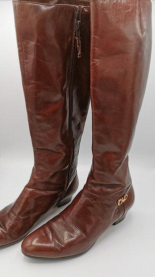 Beautiful Chesnut Salvatore Ferregamo Leather Knee High Boots