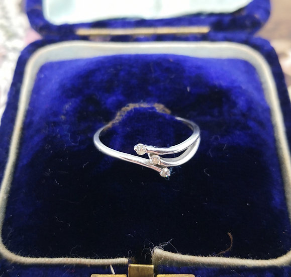 9ct White Gold and Diamond Dainty Ring