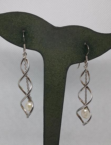 Sterling Silver and Pearl Long Drop Earrings