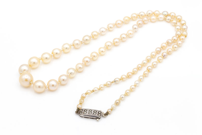 Vintage 1930s Cultured Pearl Necklace with Silver and Marcasite Clasp