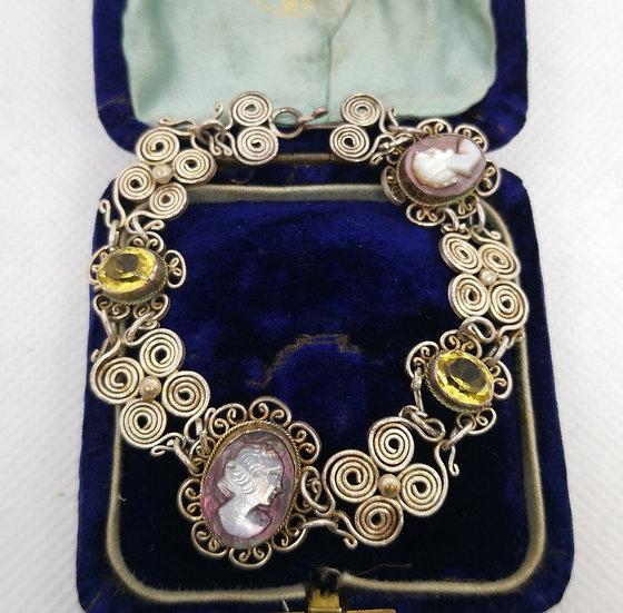 Vintage Filigree Cameo Bracelet