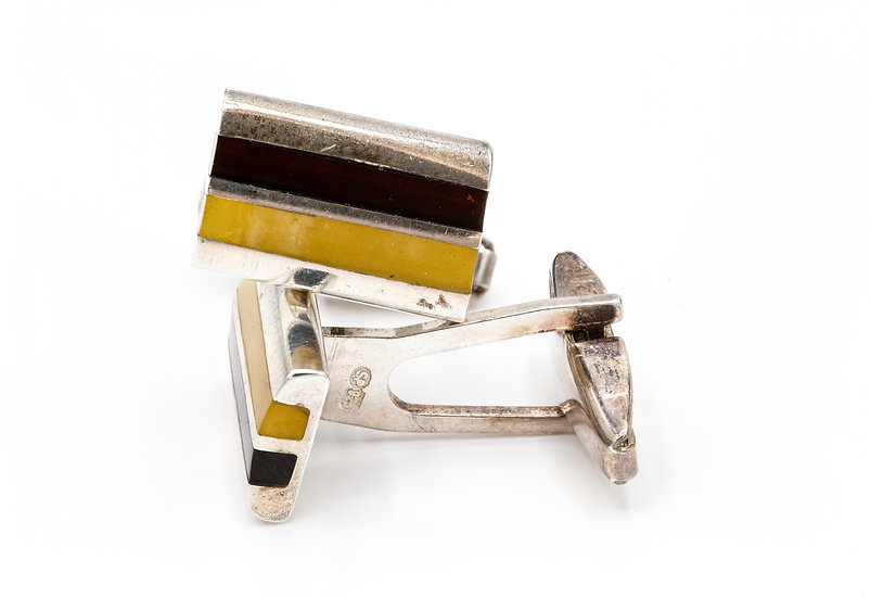 Sterling  Silver and Amber Cufflinks