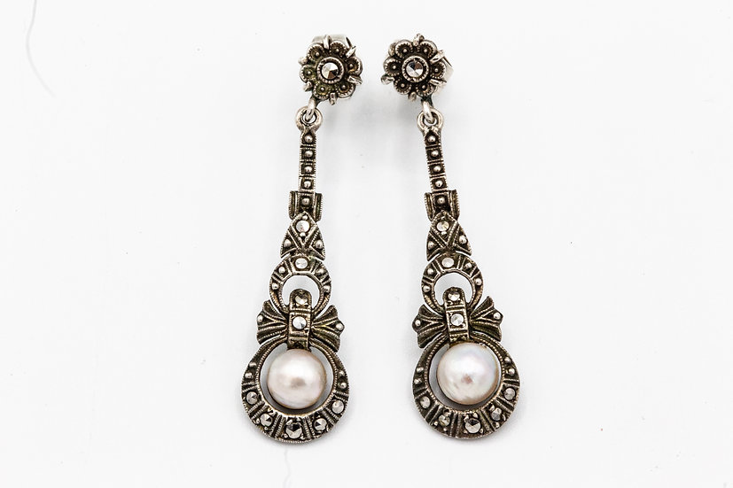 Stunning Art Deco Silver Drop Earrings With Marcasite and Pearl