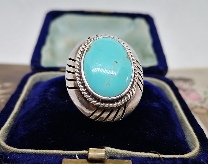 Mexican Silver and Turquoise Large Ring