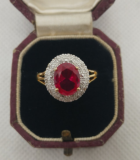 Silver Gold Plated Ring with Diamonds and Simulated Ruby