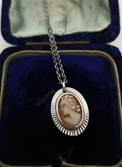 Vintage Silver Cameo Necklace