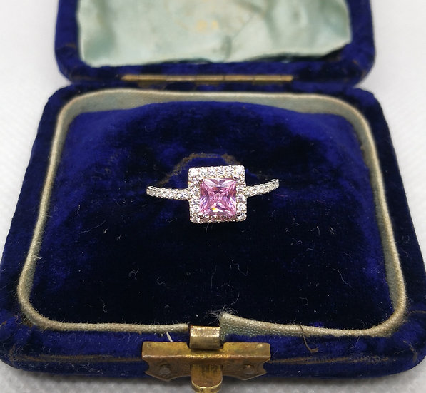 Pretty Sterling Silver and Pink Cz Ring