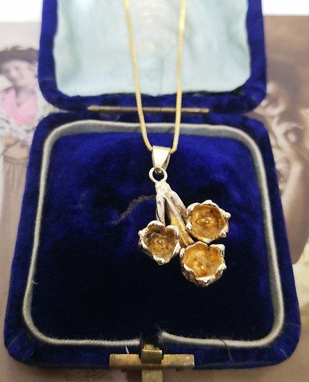 Sterling Silver Flora Danica  Vintage Necklace