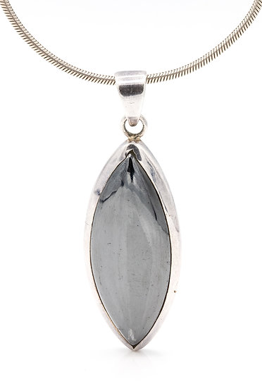Sterling Silver Large Hematite Necklace