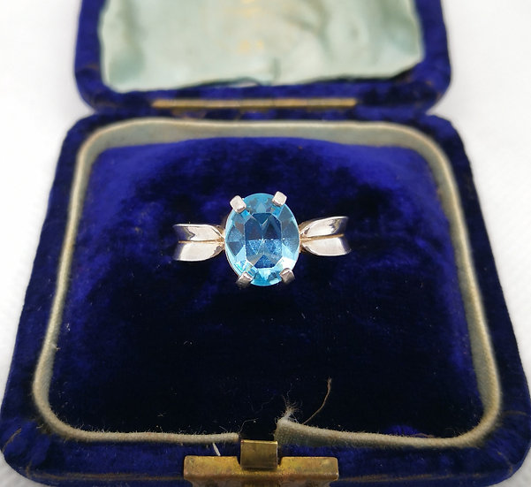 Stunning Blue Cubic Zirconia and Silver Ring
