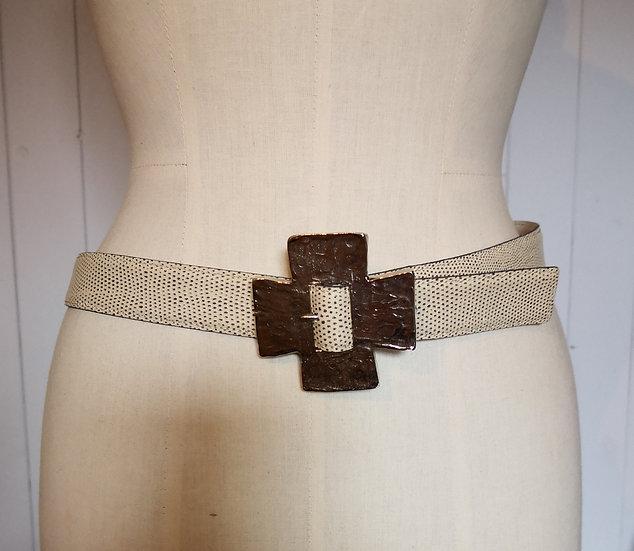 Yves Saint Laurent White Belt with Cross Buckle