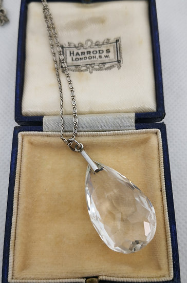 Art Deco Sterling Silver and Crystal Drop Pendant
