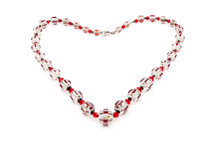 Stunning Art Deco Red and Clear Glass Bead Necklace
