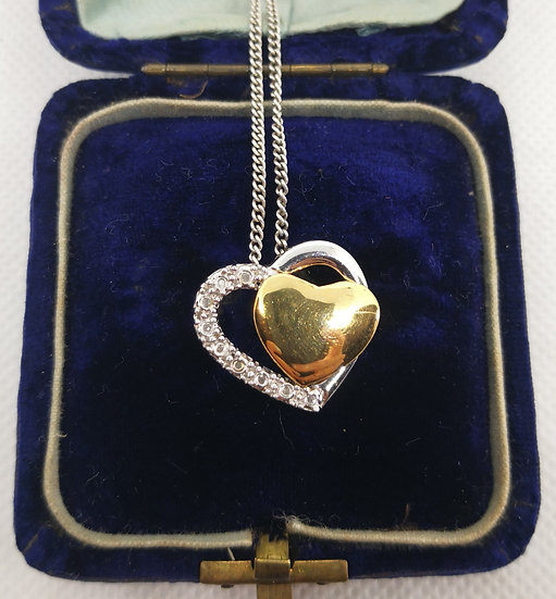 Silver and Diamond Double Heart Necklace