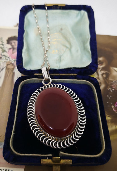 Beautiful Large Silver and Carnelian Necklace