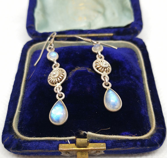 Pretty Silver and Moonstone Drop Earrings