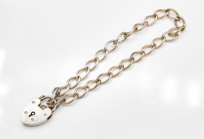Sterling Silver Padlock Heart Bracelet