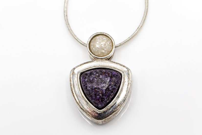 Sterling Silver Necklace with Mother of Pearl and Purple Jasper