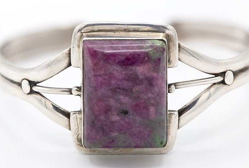Sterling Silver Pink and Green Ruby Zoisite Open Bangle