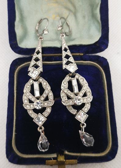 Art Deco Style Costume Drop Earrings