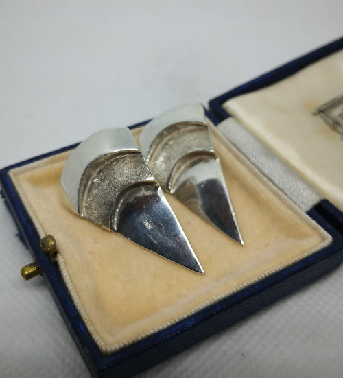Fabulous 950 Silver Modernist Earrings