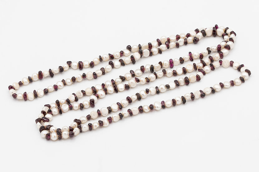 Fresh Water Pearl and Garnet Flapper Length Necklace