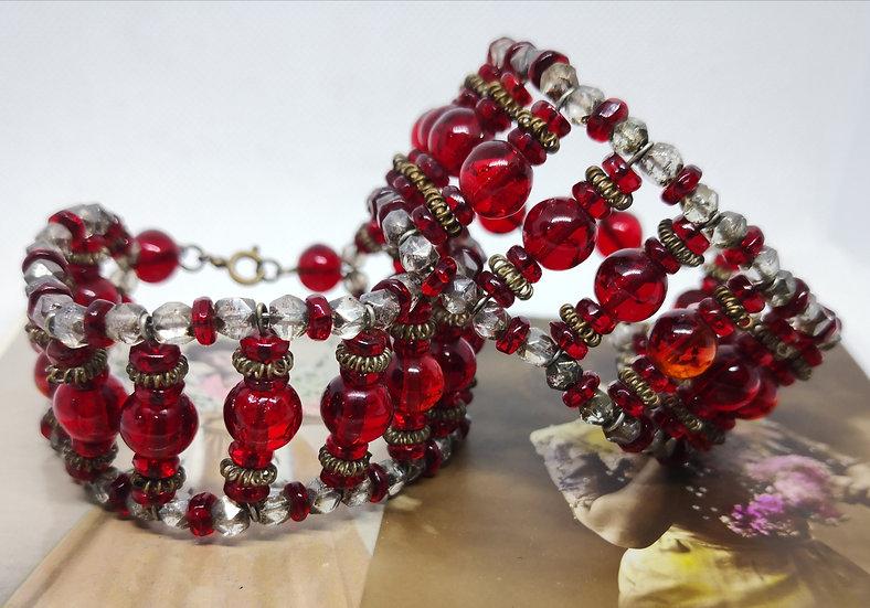 1930s Art Deco Czech Glass Bracelet Cuffs