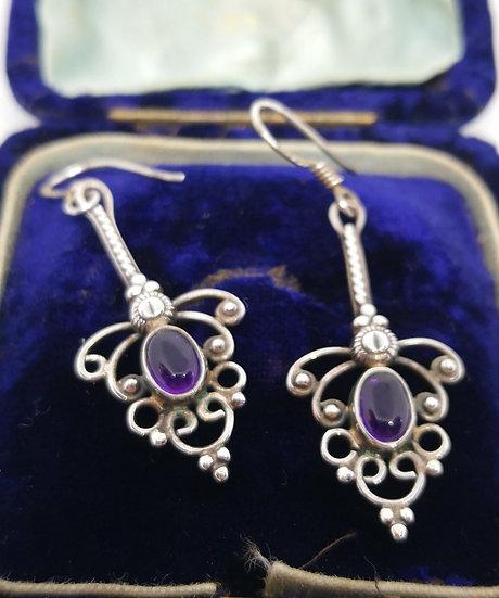 Beautiful Silver and Amethyst Drop Earrings