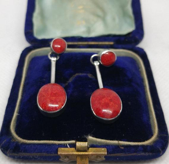 Silver and Sponge Coral Drop Earrings