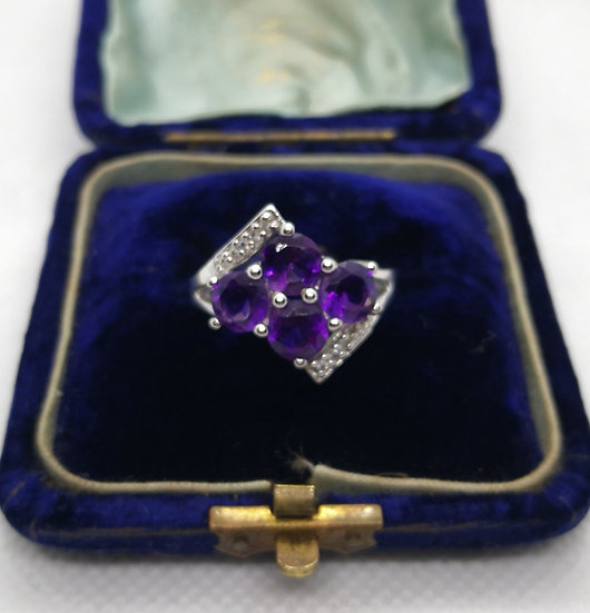 Beautiful Amethyst and Cz Solid Silver Ring