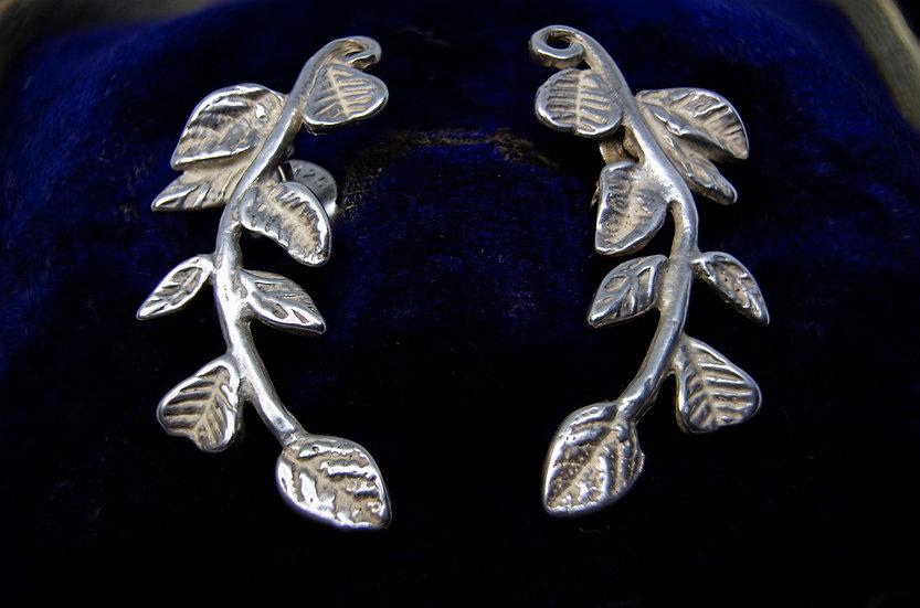 Pretty Sterling Silver Leaf Earrings