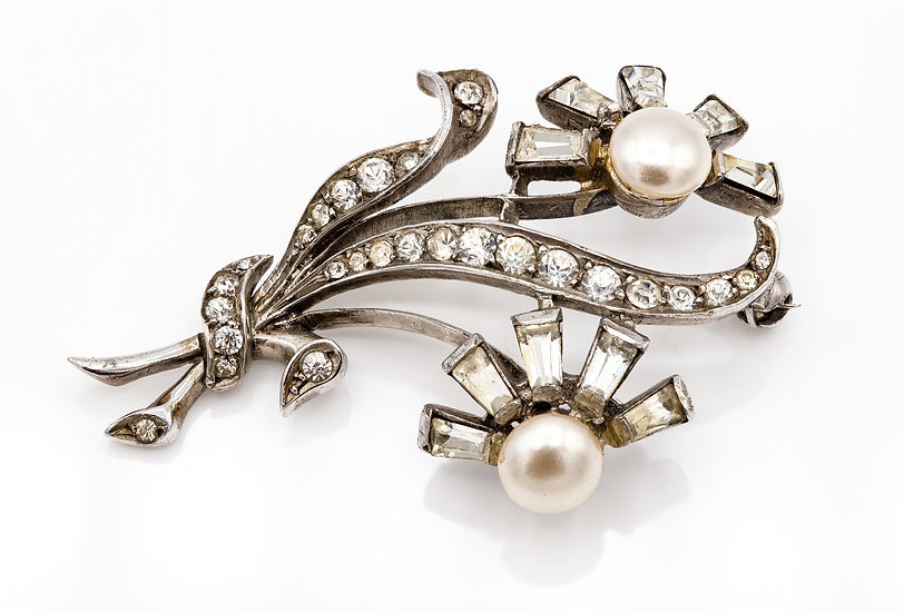 Silver Plated 1950's Flower Brooch