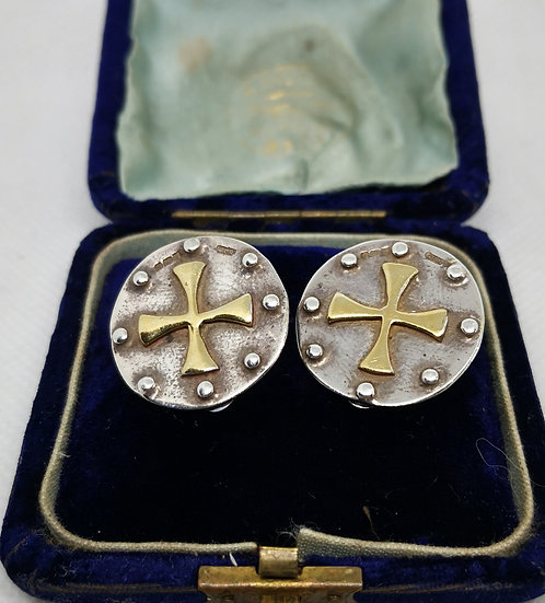 Vintage Style Sterling Silver Cross Earrings With Gold