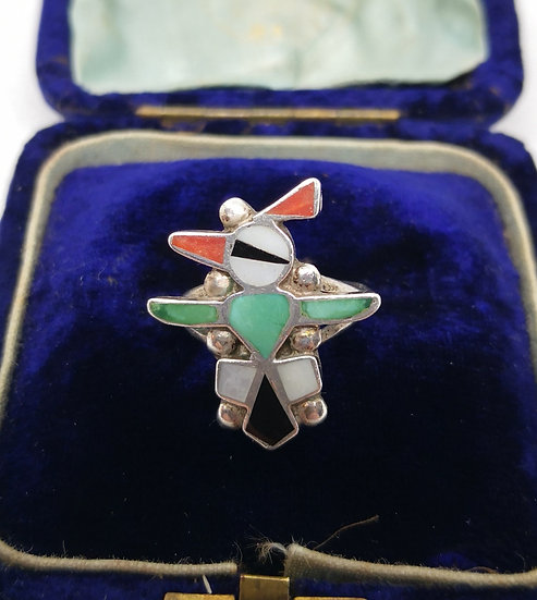 Mexican Sterling Silver Bird Ring with Coral Turquoise and Mother of Pearl